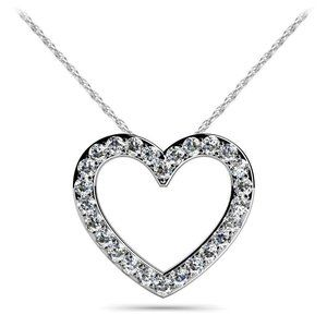 3.90 CARATS Round cut diamonds HEART pendant neckl